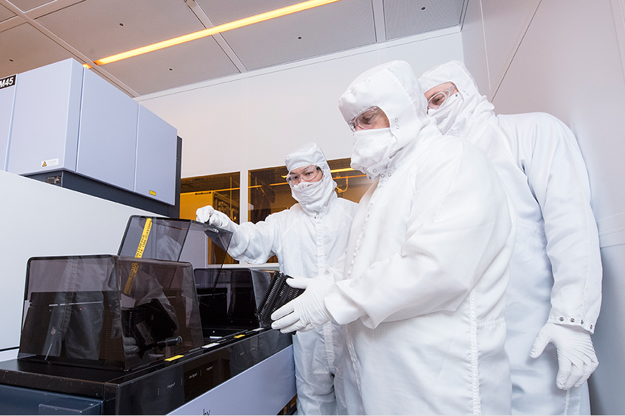 Students in the nanofabrication facility